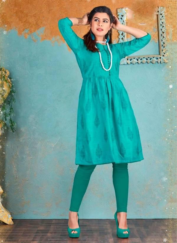 Tunic House Nurani Series 401-405 Cotton Slub Fancy office Wear Kurti Collection