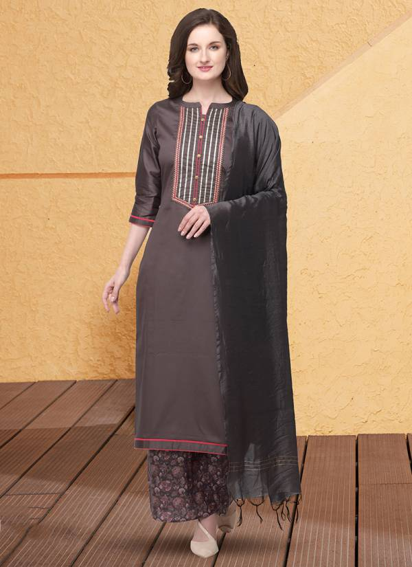 KVS Printest Series KVSSK124_PNTRT-KVSSK127_PNTRT Jam Cotton Silk With Stylish Embroidery Work And Gota Patti Work Suits Collection