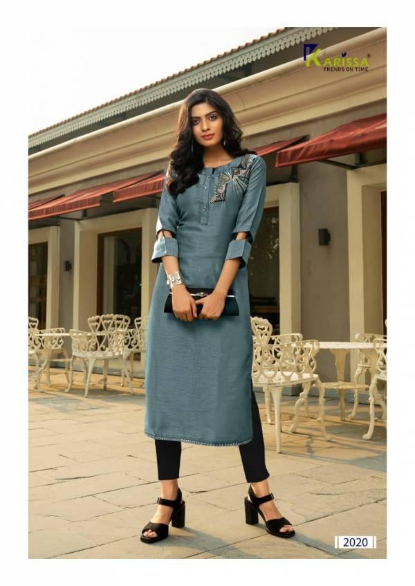 Karissa Trendz Nirza Riva Slub Silk Khatli Work Casual Wear Designer Kurti Collections