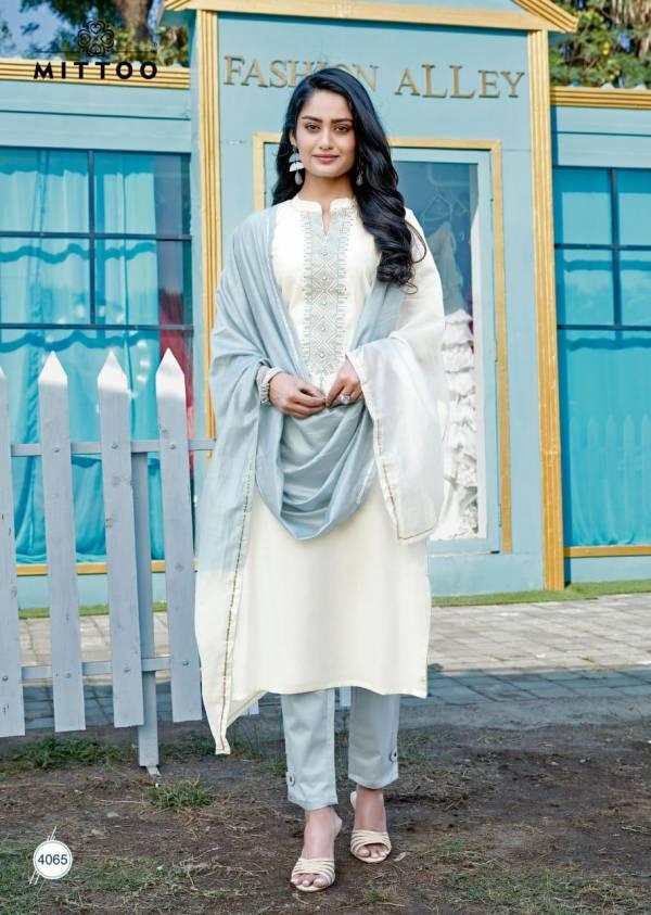 Mittoo Mahendi Mono Viscose Embroidery And Hand Work Regular Wear Designer Salwar Suits Collection