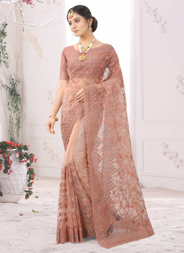 Utsav Nari Taarif Net Resham Coding With Embroidery Work With Zarkan Stone Work Designer Sarees Collection
