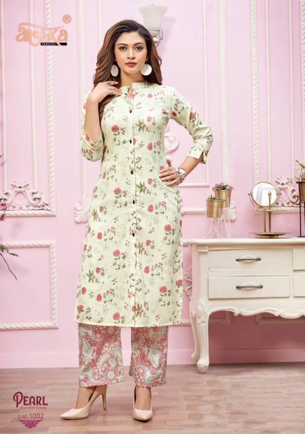 Alishka Fashion Pearl Capsule Rayon Fancy Digital Printed Work Designer Kurti collection