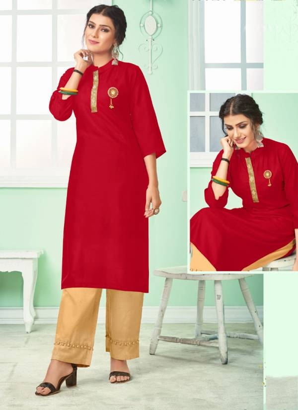 Jhala Impex Fashion + Series 1100-1106 Rayon With Collar Fancy Tai Patti And With Broch Plain Kurti Collection
