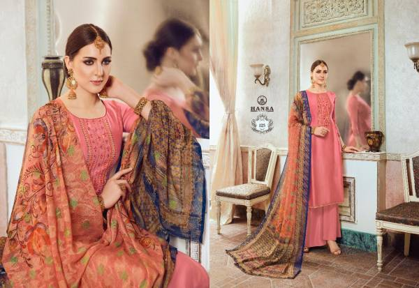 Hansa Hridya Series 121-128 Satin Georgette With Embroidery Work Designer Style Salwar Suits Collection