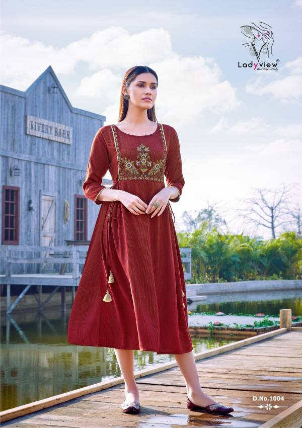 Ladyview Mahek Weaving Stripe Rayon With Embroidery Work Kurtis Collection