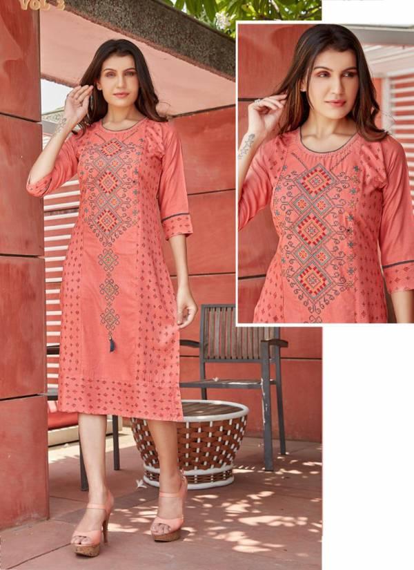 Rung Kashish Vol-2 Slub Riyon With Manual Embroidery Work And Hand Work Kurtis Collection