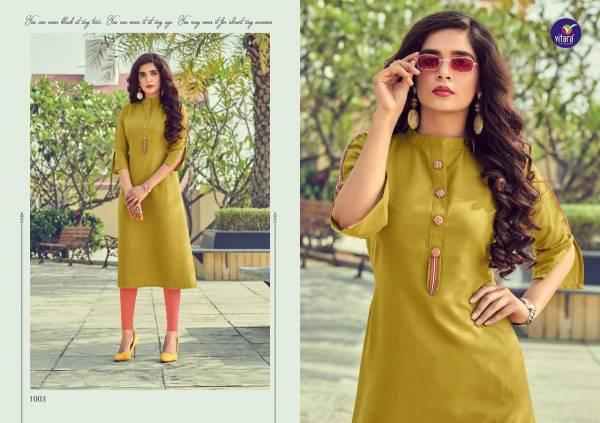 Vitara Fashion Benchmark Series 1001-1007 Cotton Slub Designer Fancy Daily Wear Kurti collection