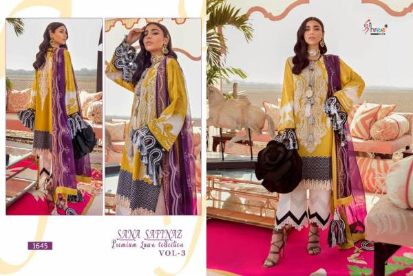 Shree Fab Sana Safinaz Vol 3 Pure Cotton With Fancy Embroidery Work Pakistani Suits Collection