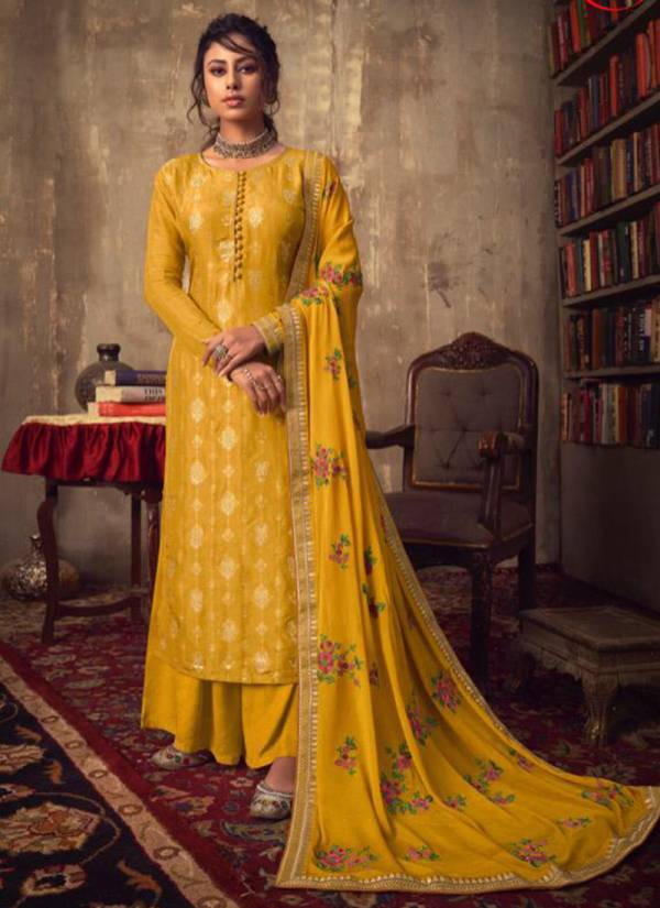 Karma Series 747-754 Pure Viscose Jacquard With Fancy Work Traditional Wear Suits Collection