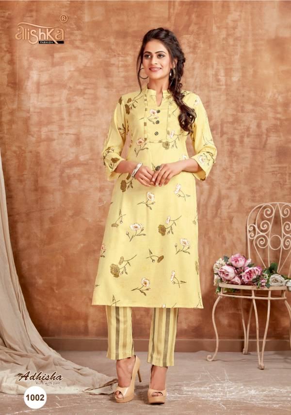 Alishka Fashion Adhisha Rayon With Heavy Foil Printed Kurtis With Pants Collection
