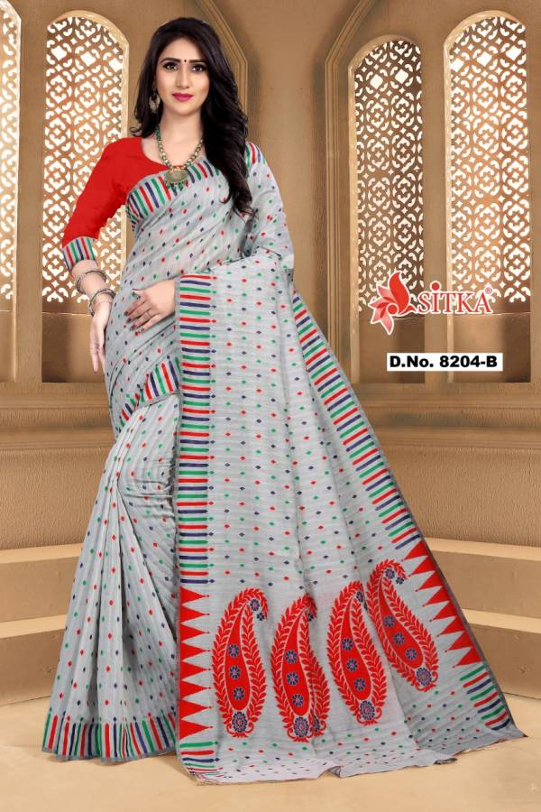 Kodas Sitka Naira Series 8204A-8204D Cotton With Fancy Print Casual Wear Designer Sarees Collection