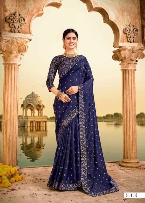 Right Women Designer Shivangi Vichitra With Foil Printed Work Festival Wear Designer Sarees Collection