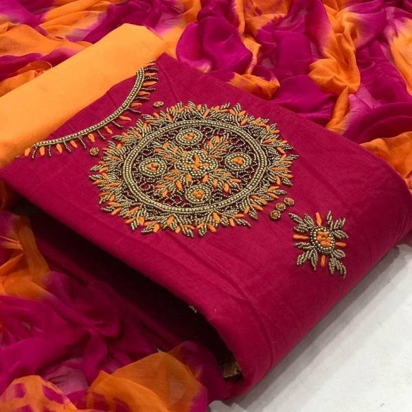 Designer Suit Rubi Cotton With Fancy Hand Work Dress Material collection