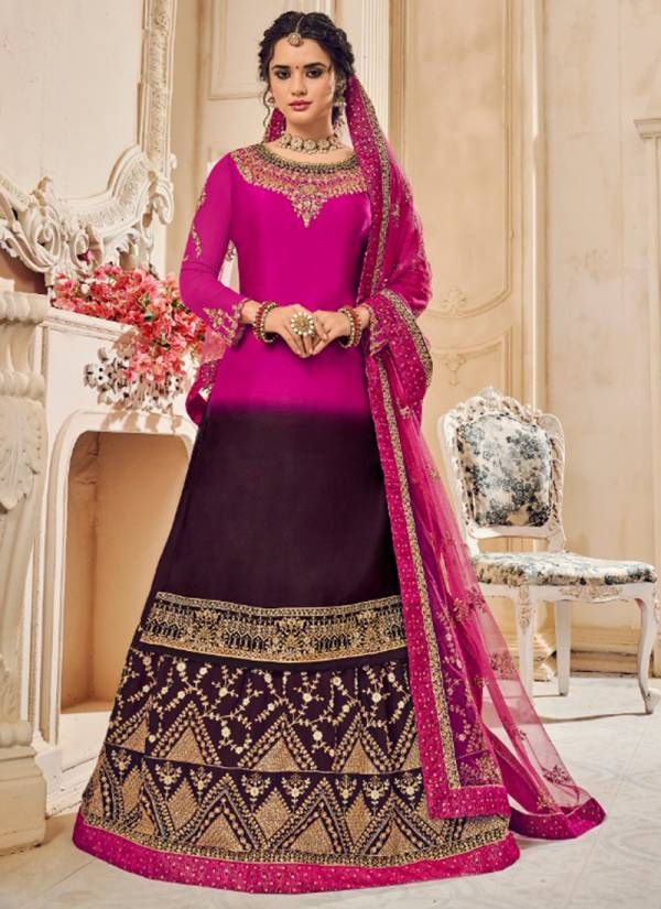Kesari Trendz Khawaish Vol 1 Series 2001-2006 Real Satin Georgette With Stylish Embroidery Work & Diamond Work Bottom With Lehenga Suits Collection