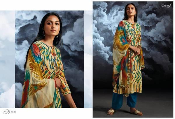 Ganga Nila Series 8119-8127 Cotton Satin Printed With Hand Work & Diamond Work Designer Casual Wear Straight Suits Collection
