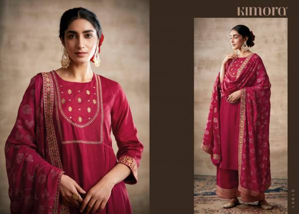 Kimora Noorani Series 01901-01908 Tussar Silk Self Butti With Embroidery Work New Designer Festival Wear Palazzo Suits Collection