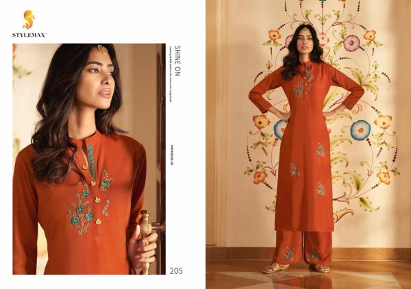 Stylemax Vintage Vol 5 Series 201-206 Silk Two Tone With Heavy Embroidery Work Straight Cut Kurtis With Pants Collection
