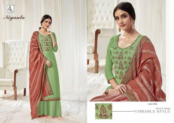 Alok Suit Niyanta Pure Dola Designer Embroidery And Swarovski Diamond work Treading Look Designer Palazzo Suits Collection