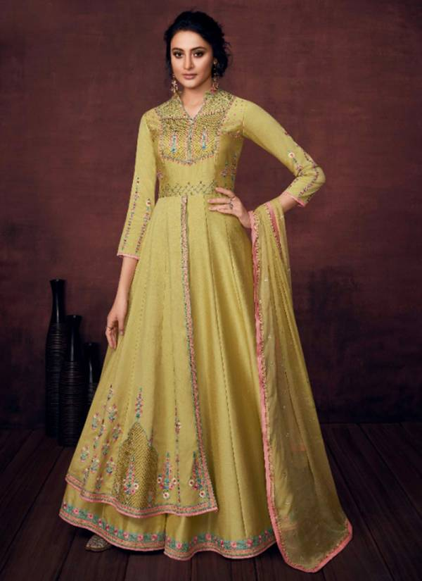 Vamika Crimsyn Series 12001-12004 Royal Slub Silk With Dull Santoon Inner Festival Season Anarkali Suits Collection