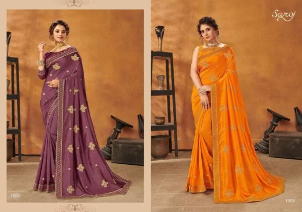 Saroj Sanam Series 1001-1008 P C Vichitra Silk With Zari Butta Work Designer Party Wear Sarees Collection
