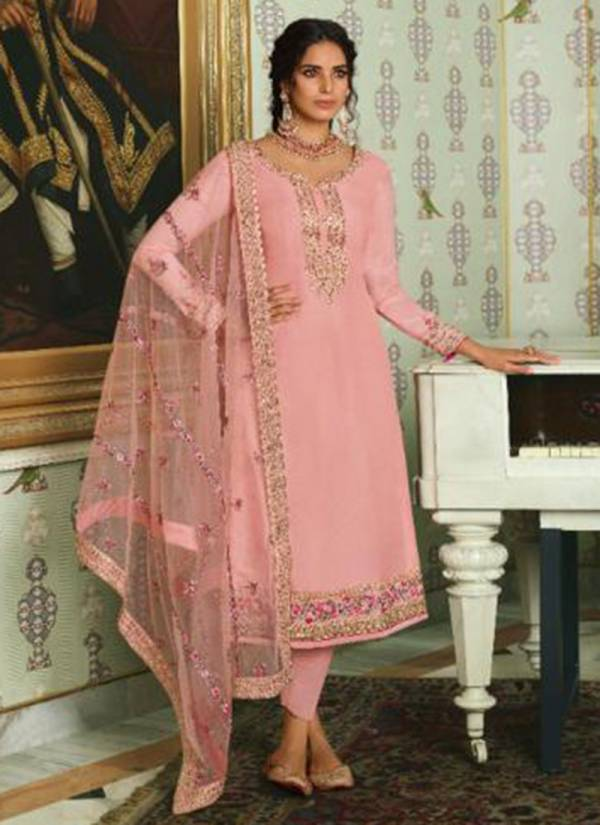 Glossy Motif Series 1881-1888 Pure Tussar Silk With Fancy Embroidery And Swarovski Work Party & Wedding Wear Suits Collection