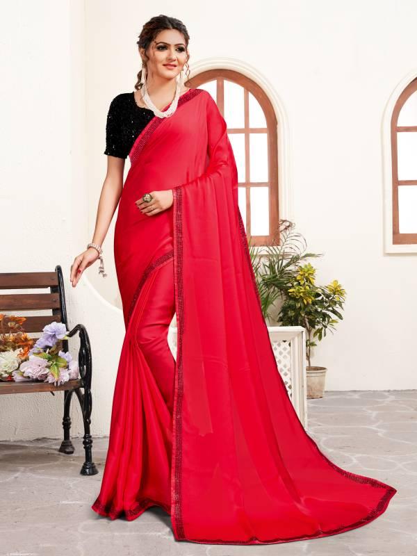 Nari Fashion Ananiya Series 2821-2828 Pure Satin With Heavy Swarovski Stone And Sequence Work Plain Sarees Collection