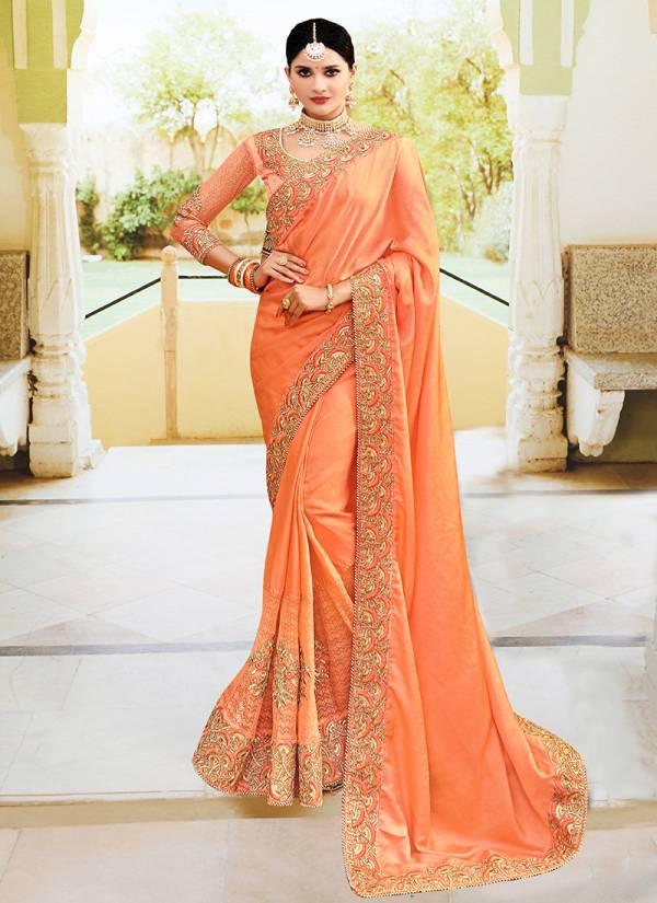 Ladys Ethnic Ember Series Sana Silk & Dolla Silk Fancy Embroidery Work Sarees Collection