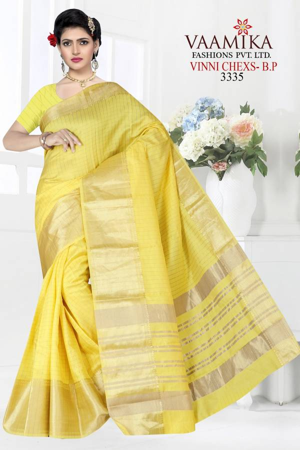 Vamika Fashion Vinni Chexs Series VC3335-VC3340 Linen Chexs With Fancy Pallu Traditional Wear Sarees Collection
