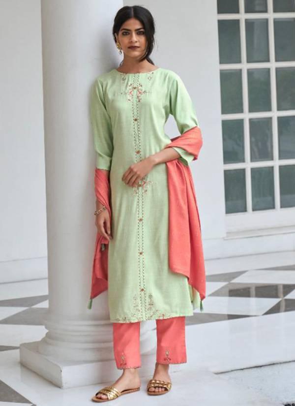 Kalki Fashion Sequence Series 67001-67006 Silk Cotton Viscose Zari With Readymade Embroidery Work Kurti Collections