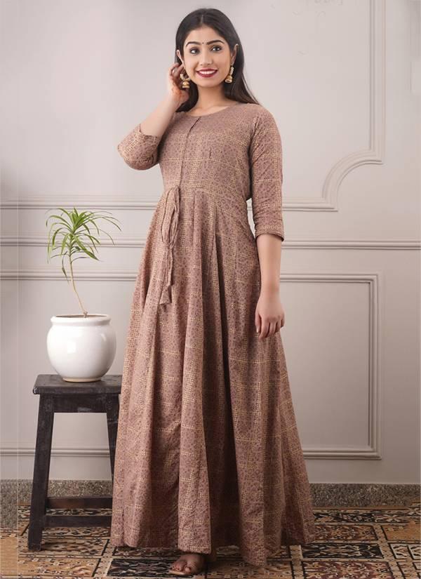 An Bazaar Stylishta Vol 10 Series Stylishta10001-Stylishta10004 Pure Chanderi Foil Printed New Designer Casual Wear Gowns Collection
