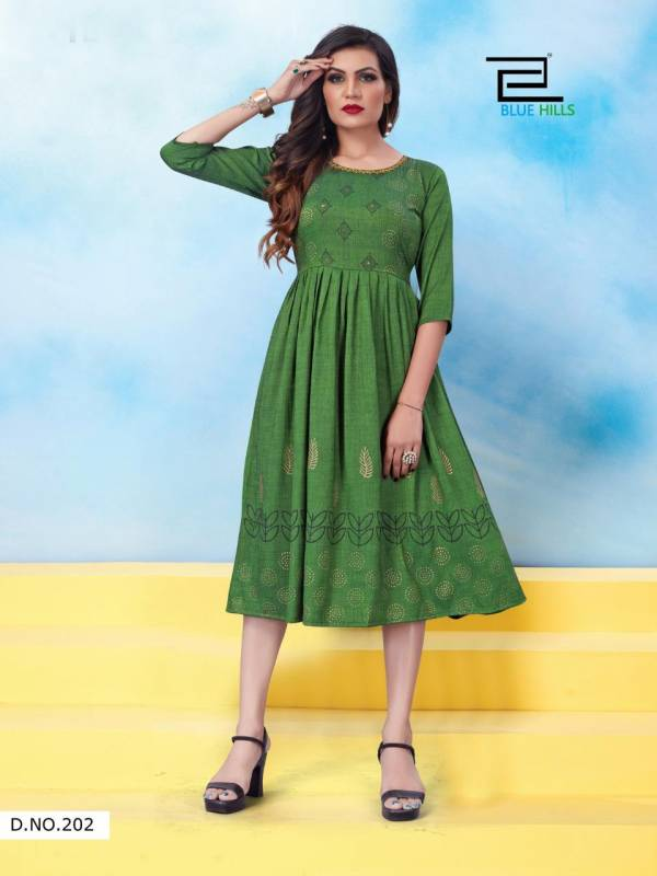 Blue Hills Trend Vol 5 Series 201-210 Two Tone Heavy Rayon Frill With Foil Printed Anf Khatli Work Fancy Kurti Collection