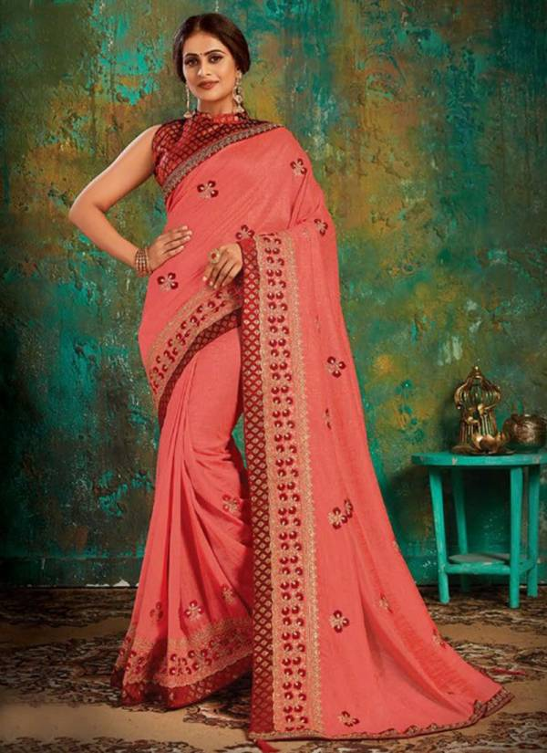 Saroj Anushka Series ANUSHKA1001-ANUSHKA1008 Vichitra Silk With Heavy Border And Butta Work Designer Party Wear Sarees Collection