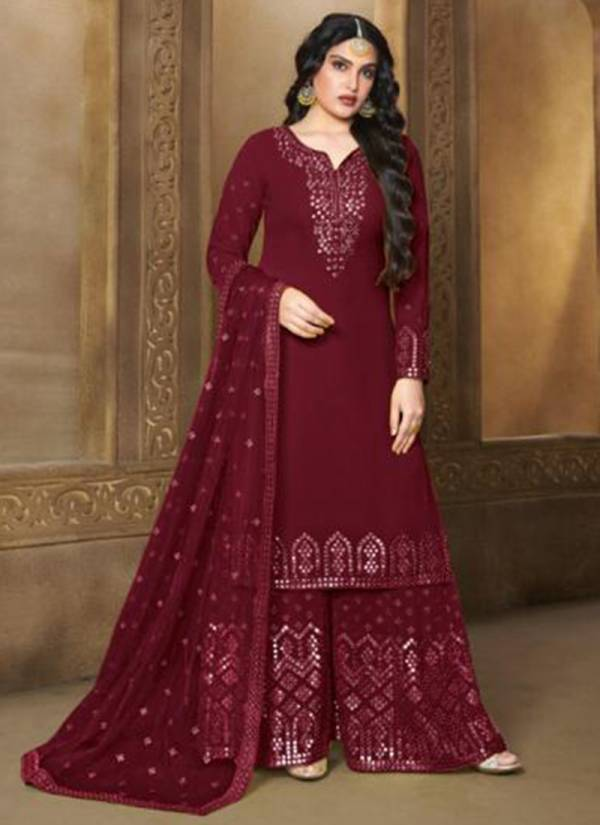 Your Choice Sanobar Series 3523-3527 Georgette With Santoon Inner Butterfly Net With Fancy Embroidery Work Sharara Suits Collection