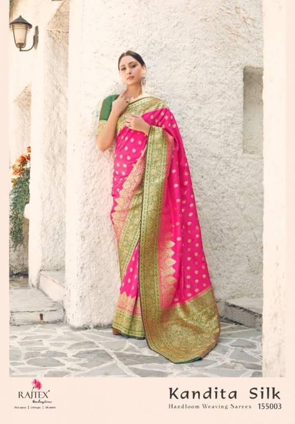 Rajtex Kandit Silk Handloom Weaving Sarees Designer Embroidery Work Wedding Wear Designer Sarees Collection