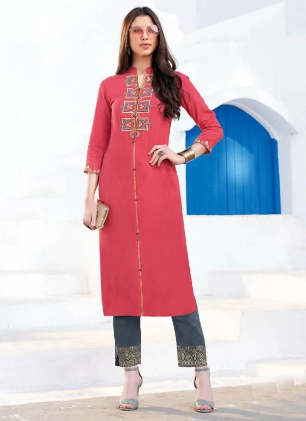 Diya Trendz Biba's Vol 7 Series 7001-7014 Rayon Cotton Flex With Fancy embroidery Work Designer Kurtis With Classy Prints Fancy Palazzo Collection