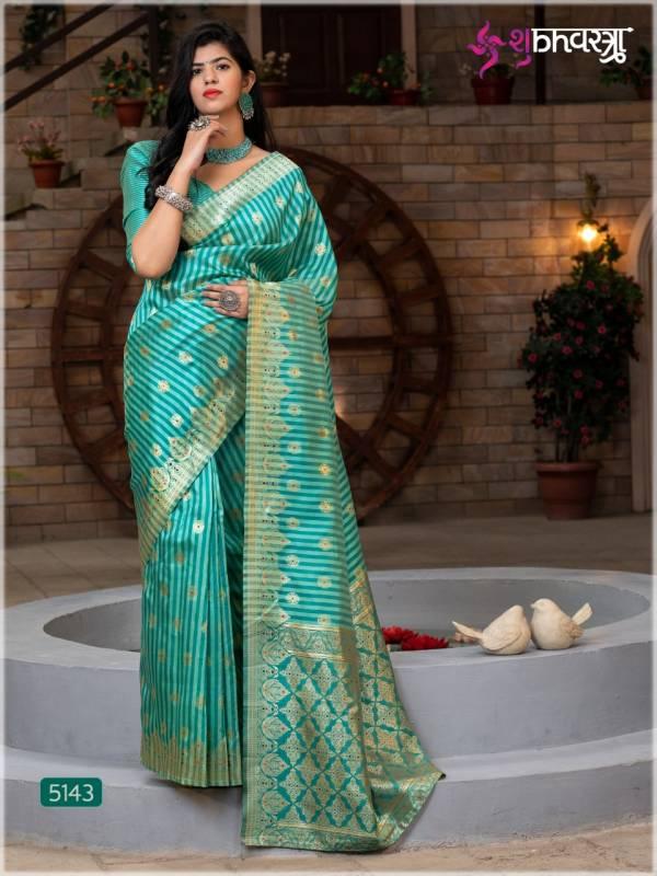Shubh Vastra Rajwadi Vol 3 Series 5141-5145 Banarasi Silk Latest Designer Party Wear Sarees Collection