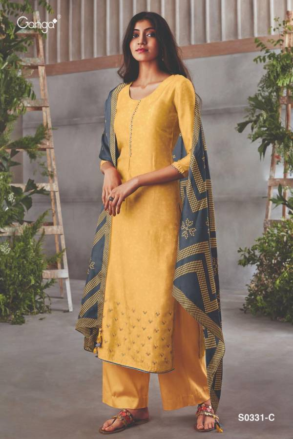 Ganga Hanna 331 Pure Russian Silk Printed With Work Palazzo Suits Collection