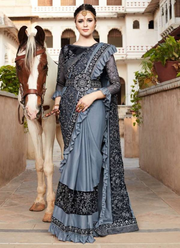 Kalista Sensation-3 Series 48333-48338 Designer Heavy Fancy Fabric With Frill Sarees With Heavy Blouse & Fancy Belt Collection