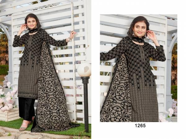 Biposn Kyraa Black Cotton Slub Print Palazzo Suits Collection