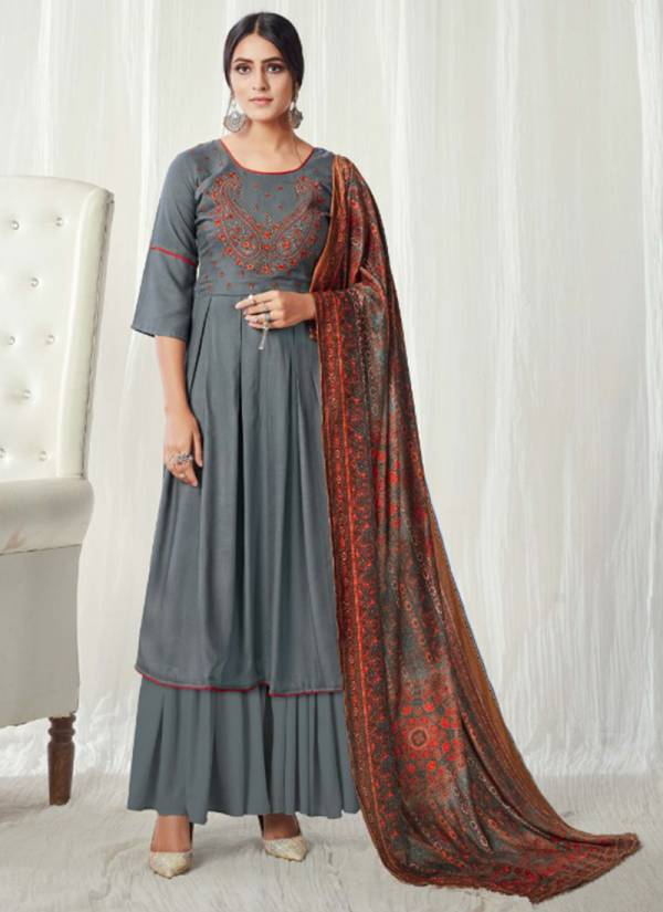 Lavina Vol 114 Series 114-001 - 114-006 Pure Pashmina Woollen With Stylish Look Fancy Embroidery Work Winter Season Suits Collection