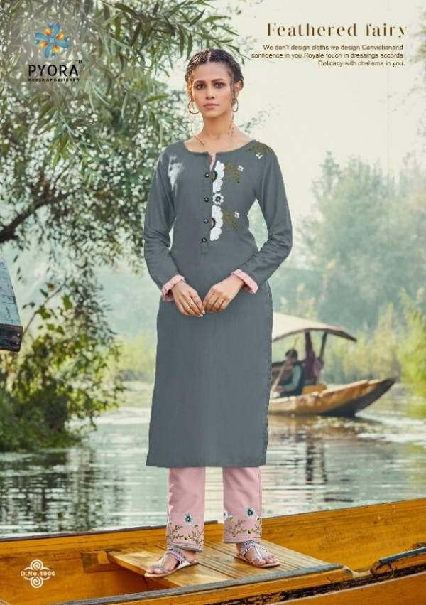 Pyora Panthee Vol - 1 Pure Rayon Slub With Hand Embroidery Work Fancy Kurti With Pant Collections