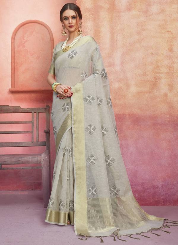 Ishika Manthan Series 5131-5138 Cotton Linen Fancy Embroidery Work Festival Wear Sarees Collection