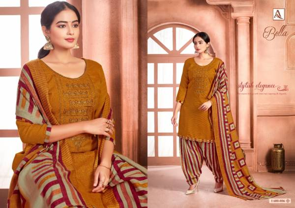Alok Suit Bella Series 680-001 - 680-010 Pure Pashmina Print With Exclusive Embroidery Work Casual Wear Patiyala Suits Collection