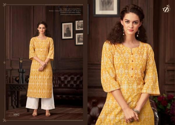 TZU Rehana Series 1001-1004 Pure Cotton With Lucknowi Prints 7 Katha Work Regular Wear Kurti With Palazzo Collection