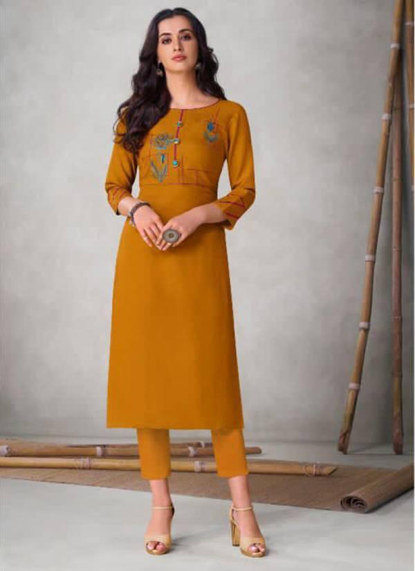 Vamika NX Colour's Series 201COLOUR'S-208COLOUR'S Viscose Slub New Fancy Office Wear Kurtis Collection