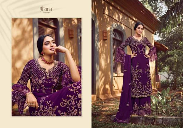 Fiona Navya georgette Embroidery Work Festival Wear Palazzo Suit Collection