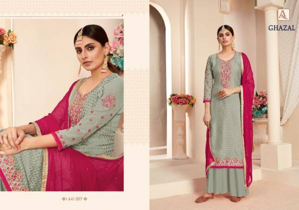 Alok Suit Ghazal Pure Viscose With Neck Embroidery With Swarovski Diamond Work Wedding Wear Designer Palazzo Collection