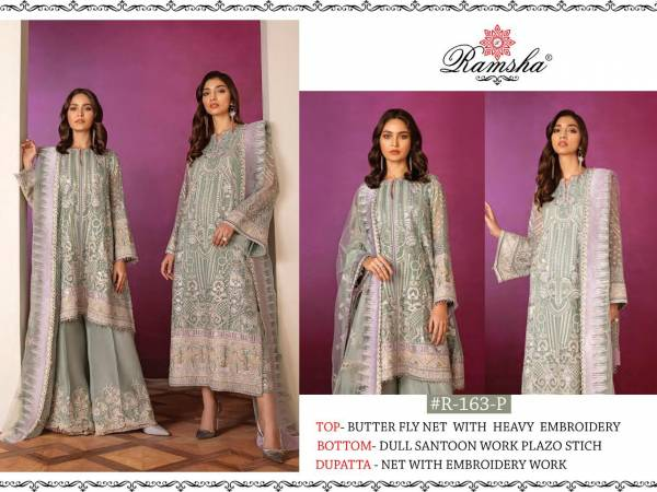Ramsha Series R-123 - R-175 Butterfly Net & Georgette With Heavy Embroidery Work Ramzan Eid Special Designer Pakistani Suits Collection