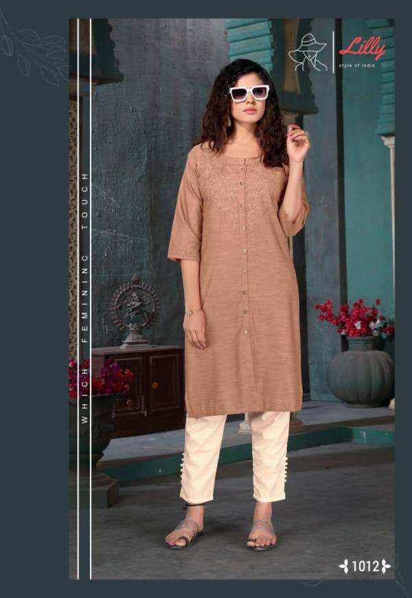 Lilly Barbela Soft Rayon With Fncy Work Kurtis With Pants Collection