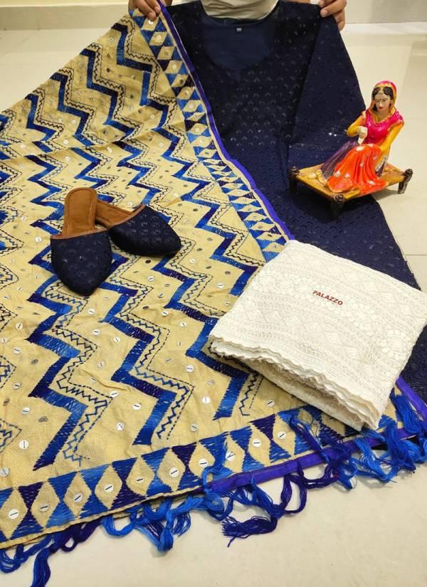 Vikash Eshan Cotton Handmade Kashmiri Jhaller Work Designer Palazzo Suits Collection